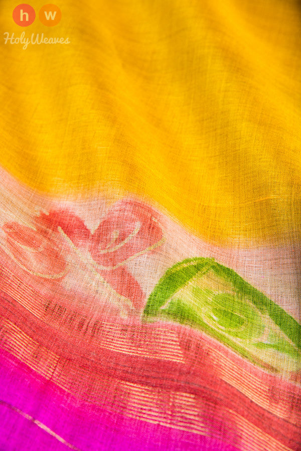 Yellow Tasar Silk Hand-painted Dupatta - HolyWeaves