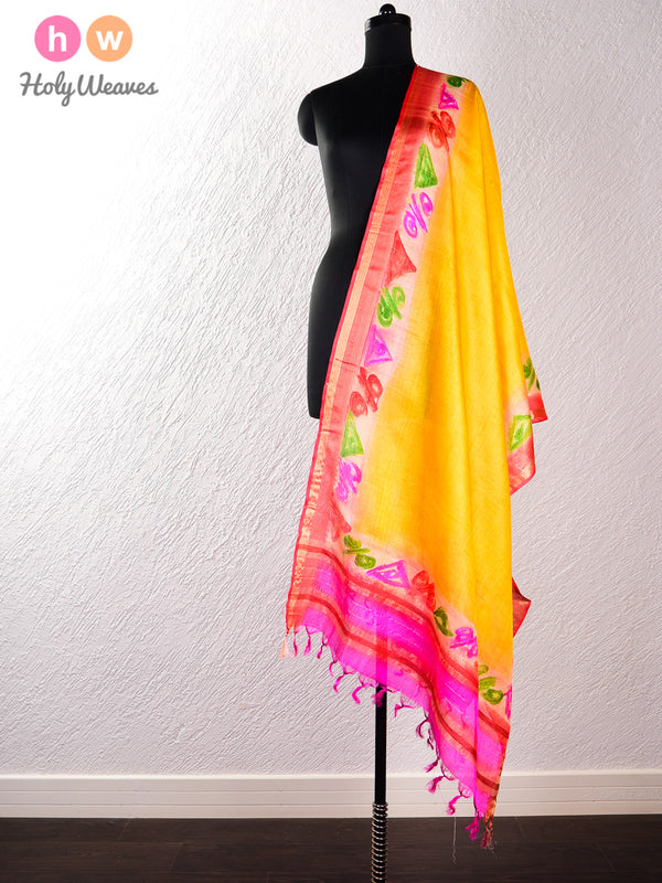 Yellow Tasar Silk Hand-painted Dupatta- HolyWeaves