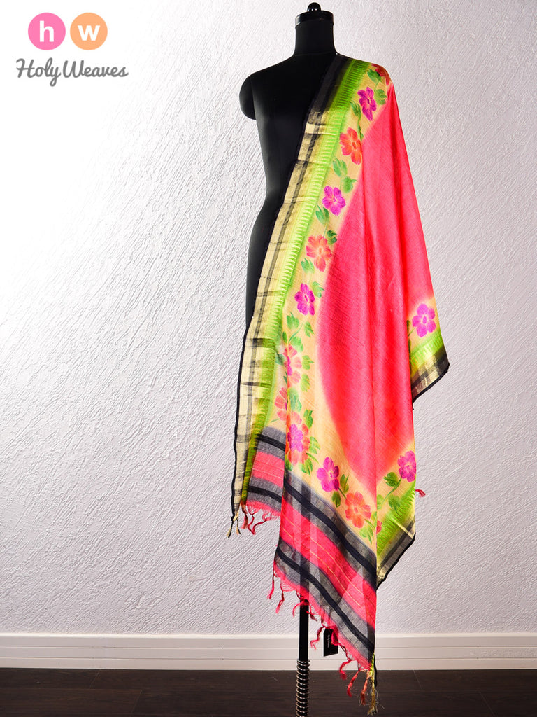 Peach Tasar Silk Hand-painted Dupatta