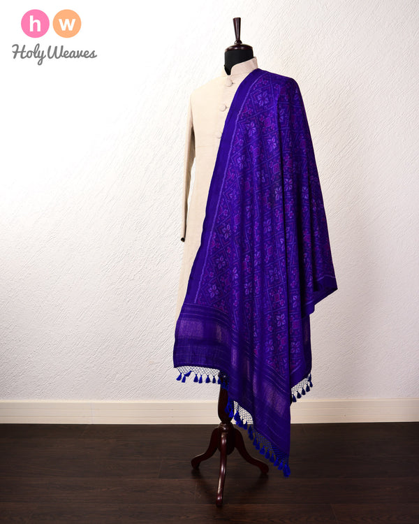 Blue Ikat Handwoven Silk-Wool Shawl