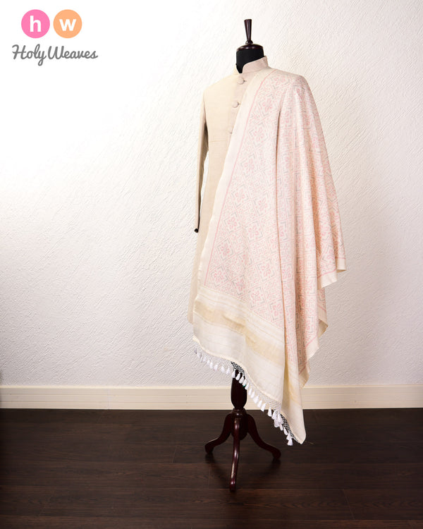 White Ikat Handwoven Silk-Wool Shawl