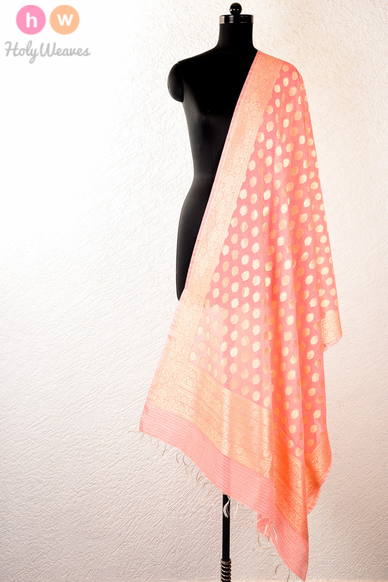 Peach Handwoven Cotton Silk Cutwork Brocade Dupatta - HolyWeaves