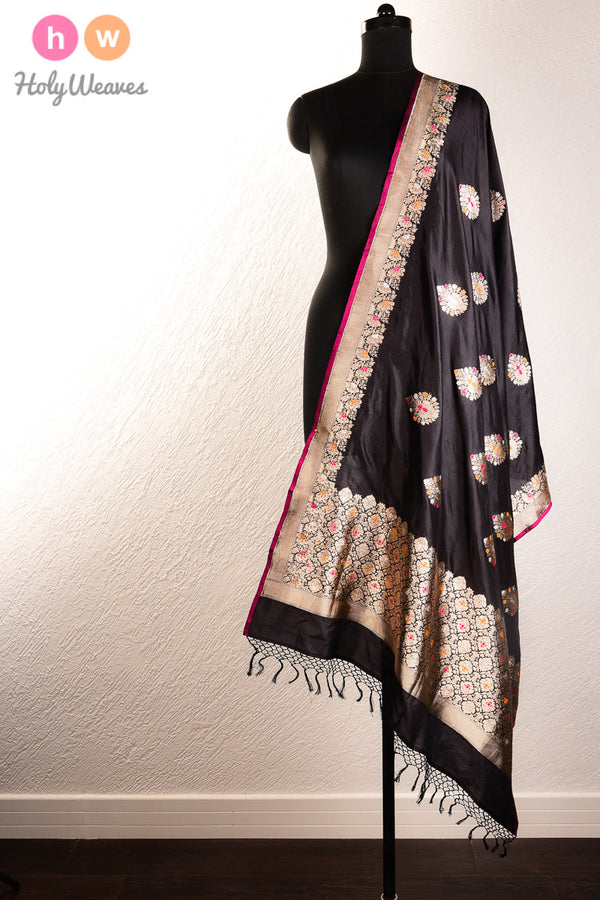 Black Handwoven Katan (कतान) Silk Kadhuan (कढ़ुआँ) Brocade Dupatta- HolyWeaves