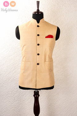 Beige Linen Silk Brocade Mens Modi Jacket- HolyWeaves