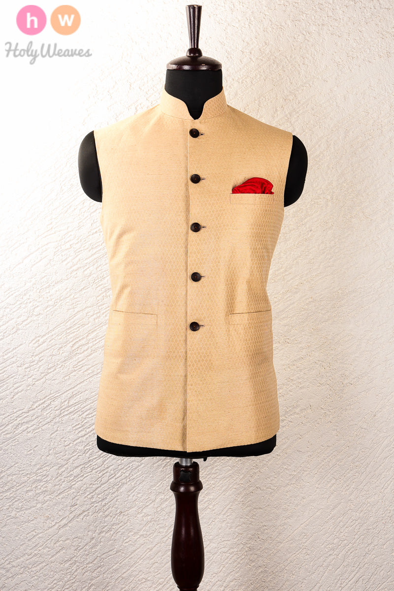 Beige Linen Silk Brocade Mens Modi Jacket - HolyWeaves