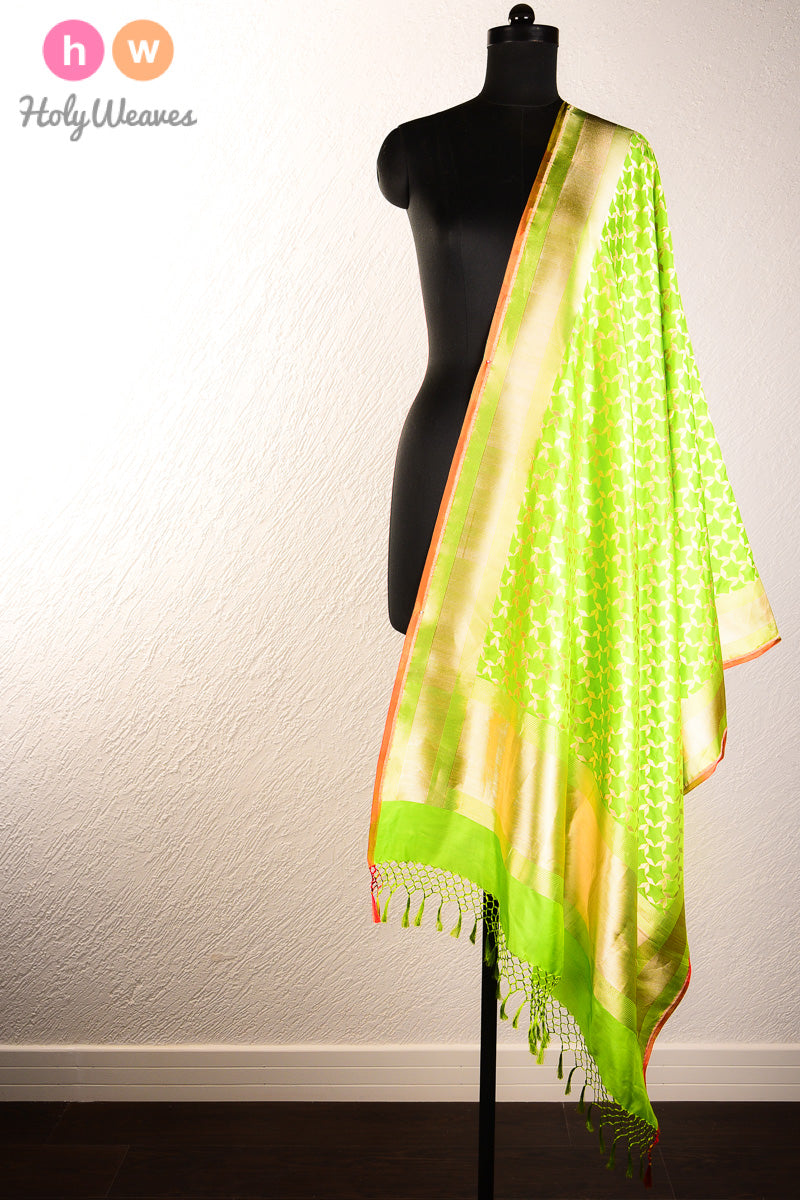 Green Handwoven Katan (कतान) Silk Cutwork Brocade Dupatta - HolyWeaves