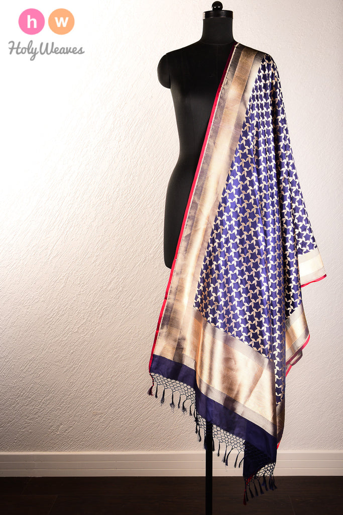 Blue Handwoven Katan Silk Cutwork Brocade Dupatta