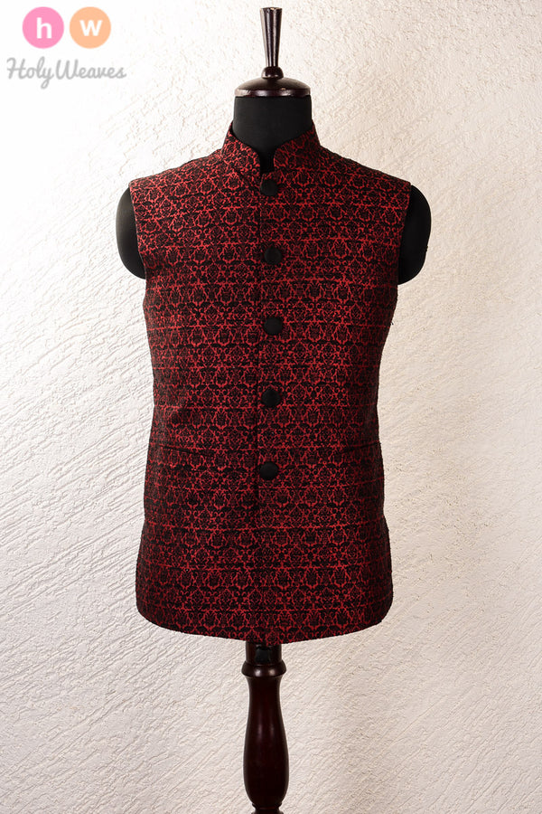 Black Silk Noil Brocade Mens Modi Jacket- HolyWeaves