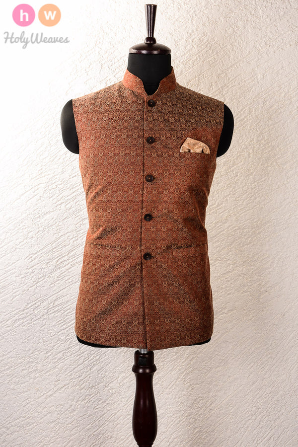 Maroon Silk Wool Tanchoi Brocade Mens Modi Jacket - HolyWeaves