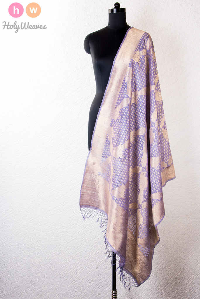 Mauve Handwoven Raw Silk Cutwork Brocade Dupatta - HolyWeaves - 1