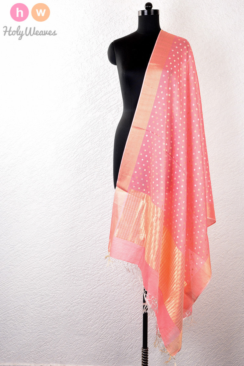 Pink Handwoven Cotton Silk Kadhuan Brocade Dupatta - HolyWeaves