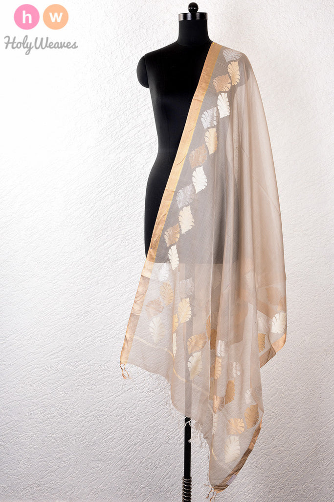 Grey Handwoven Cotton Tissue Kadhuan Brocade Dupatta - HolyWeaves