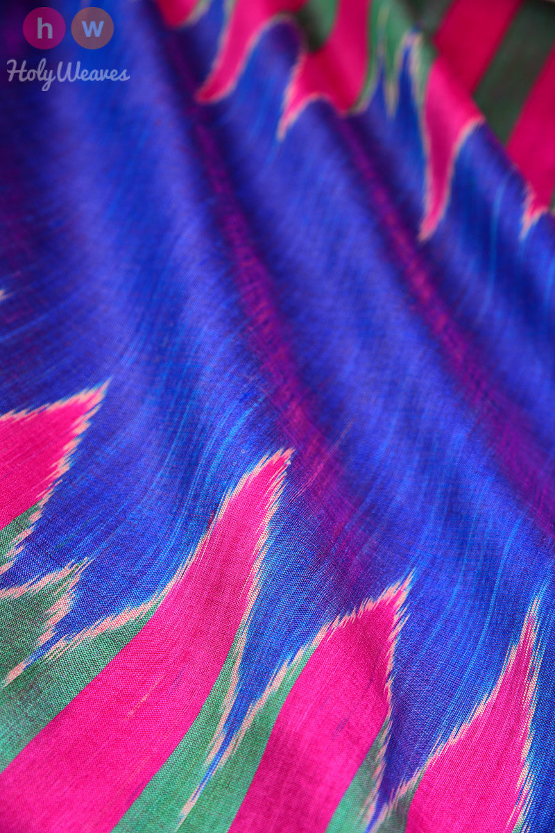 Multi-color Handwoven Tasar Silk Kadhuan Brocade Dupatta - HolyWeaves