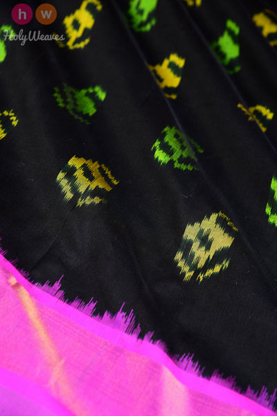 Black Handwoven Katan Silk Pochampally Dupatta