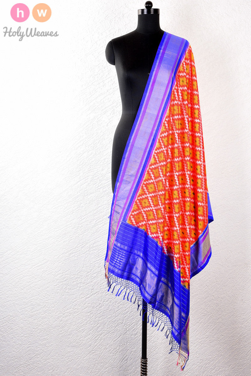 Orange Handwoven Katan Silk Pochampally Dupatta - HolyWeaves