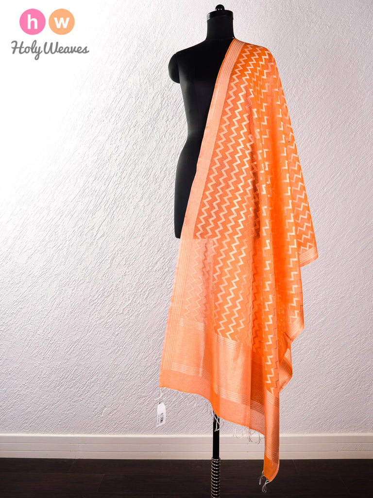 Orange Handwoven Cotton Silk Cutwork Brocade Dupatta