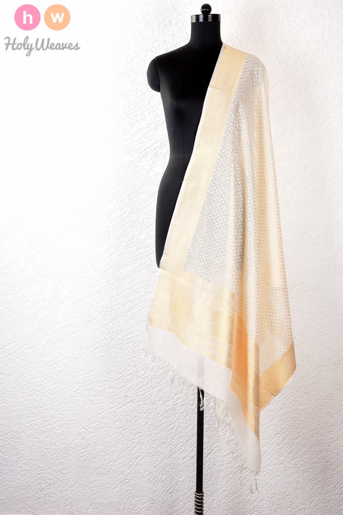 White Handwoven Cotton Silk Cutwork Brocade Dupatta