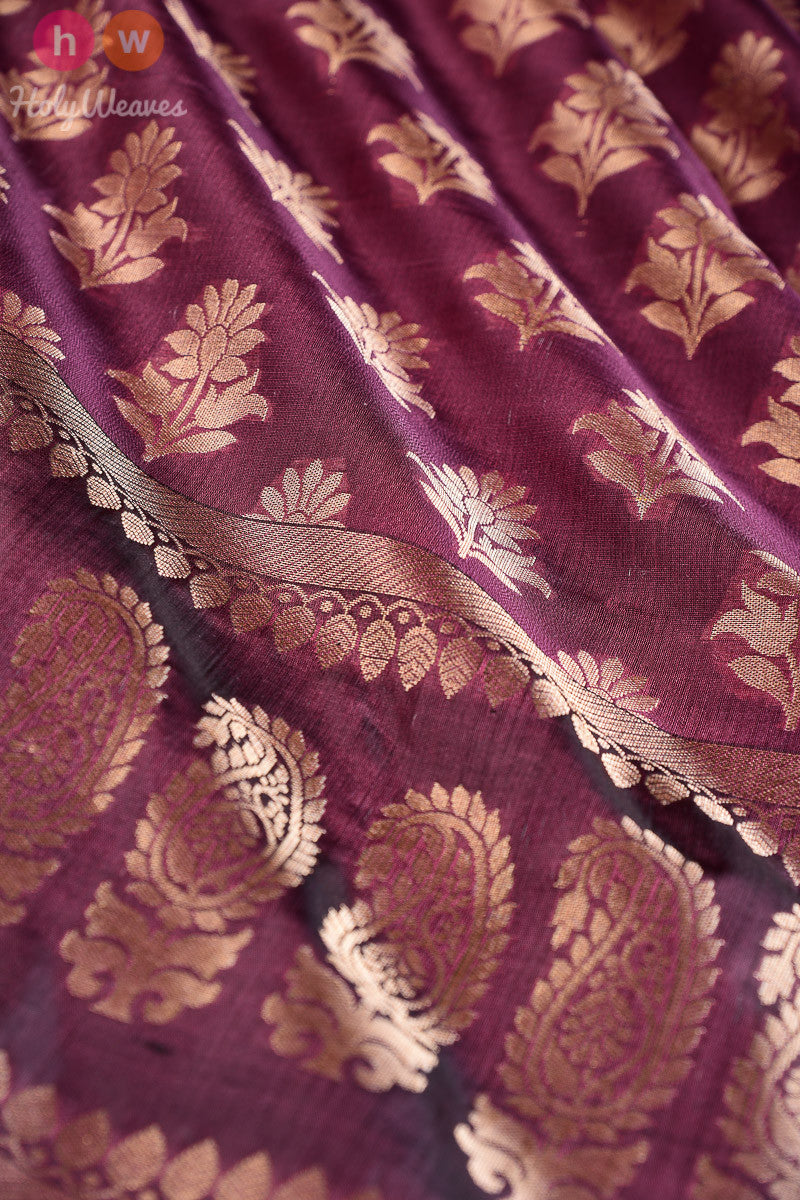Purple Flower-Paisley Cutwork Brocade Handwoven Katan Georgette Dupatta - HolyWeaves