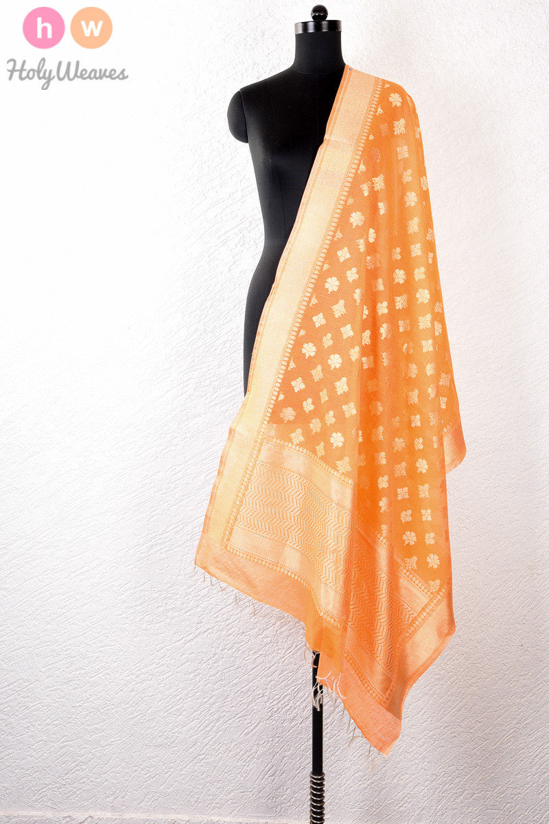 Orange Handwoven Cotton Silk Cutwork Brocade Dupatta - HolyWeaves