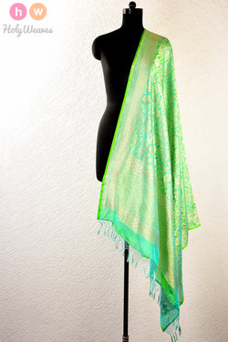 Green Handwoven Katan Silk Cutwork Brocade Dupatta - HolyWeaves