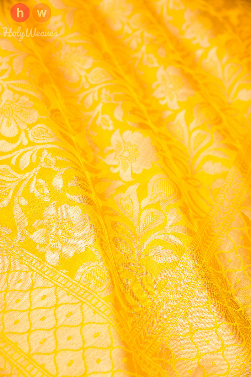 Yellow Handwoven Katan Silk Cutwork Brocade Dupatta - HolyWeaves