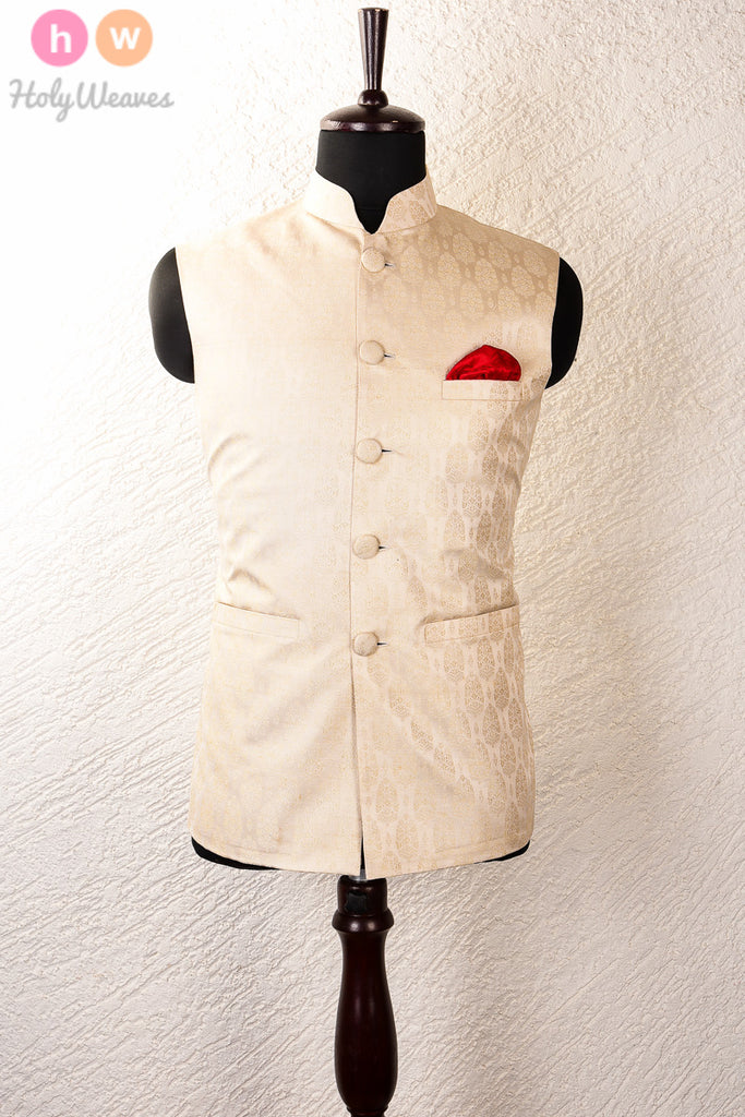 Cream Silk Tanchoi Brocade Mens Modi Jacket - HolyWeaves