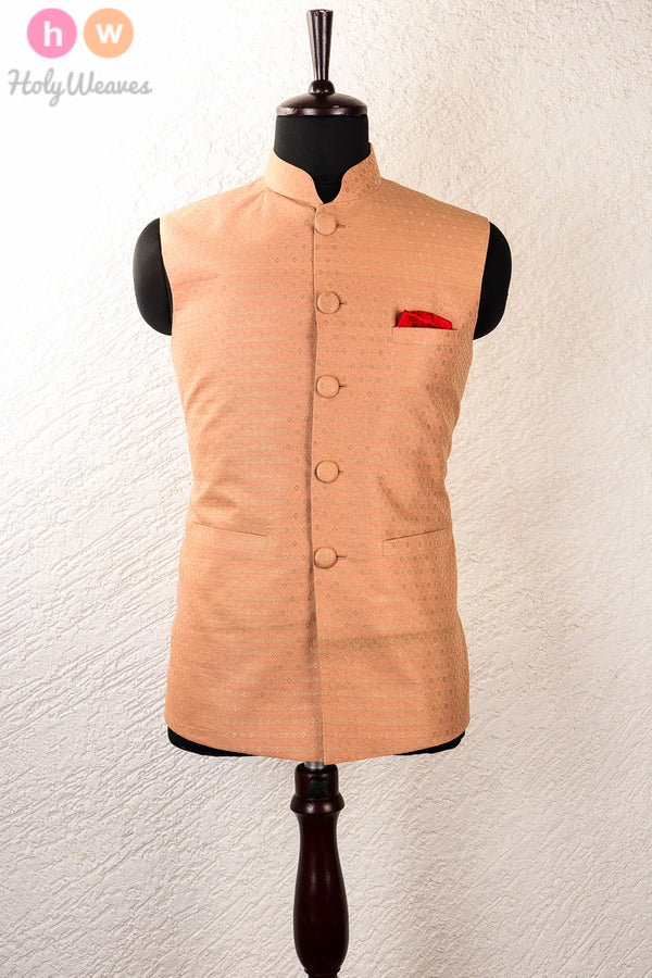 Beige Art Silk Tanchoi Brocade Mens Modi Jacket- HolyWeaves
