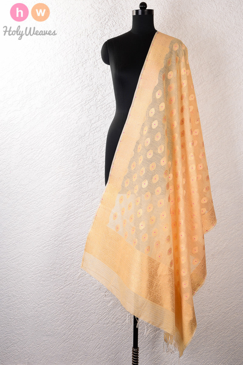 Beige Meenedar Buti Cutwork Brocade Handwoven Cotton Silk Dupatta - HolyWeaves