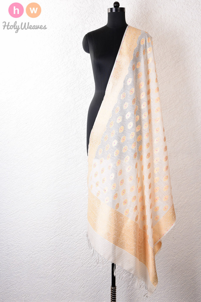 White Meena Buti Cutwork Brocade Handwoven Cotton Silk Dupatta - HolyWeaves