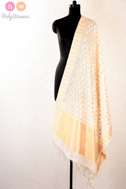 White Handwoven Cotton Silk Cutwork Brocade Dupatta - HolyWeaves