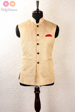 Cream Tasar Muga Brocade Mens Modi Jacket- HolyWeaves