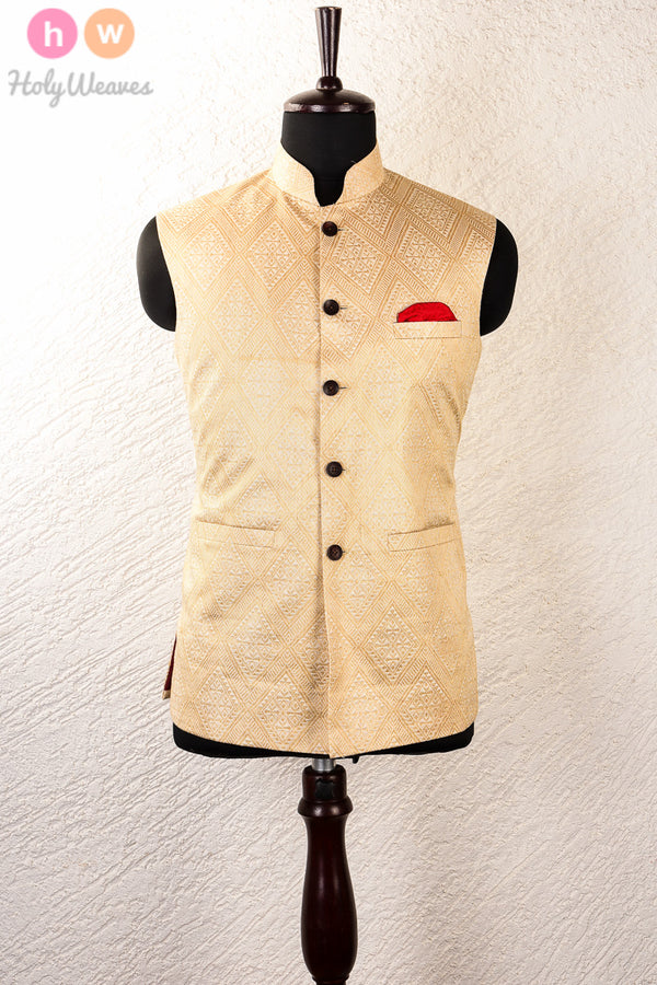 Cream Tasar Muga Brocade Mens Modi Jacket - HolyWeaves