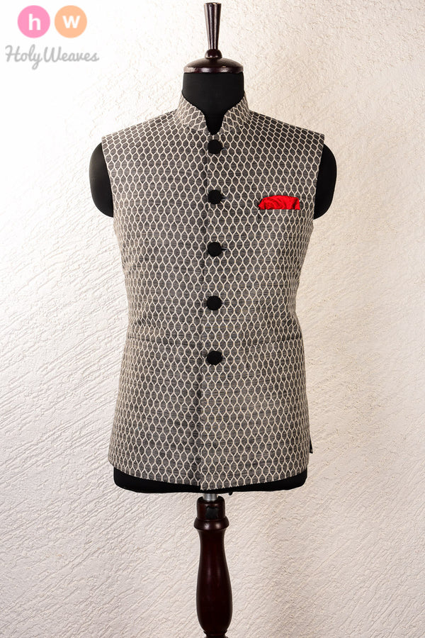 Gray Linen Silk Brocade Mens Modi Jacket- HolyWeaves