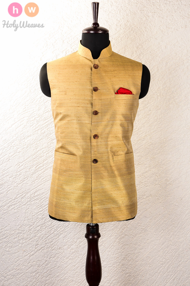Beige Tasar Raw Silk Brocade Mens Modi Jacket- HolyWeaves