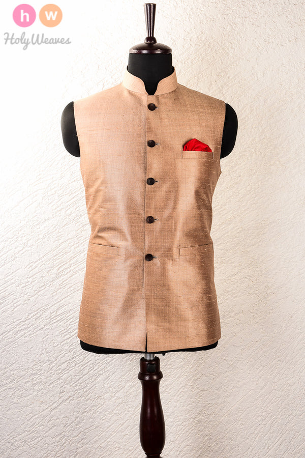 Tasar Raw Silk Brocade Mens Modi Jacket - HolyWeaves