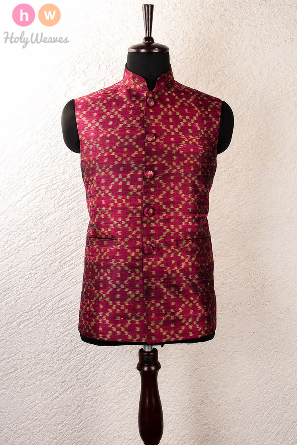 Purple Raw Silk Pochampally Mens Modi Jacket- HolyWeaves
