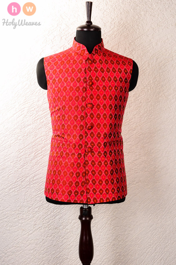 Red Raw Silk Pochampally Mens Modi Jacket- HolyWeaves