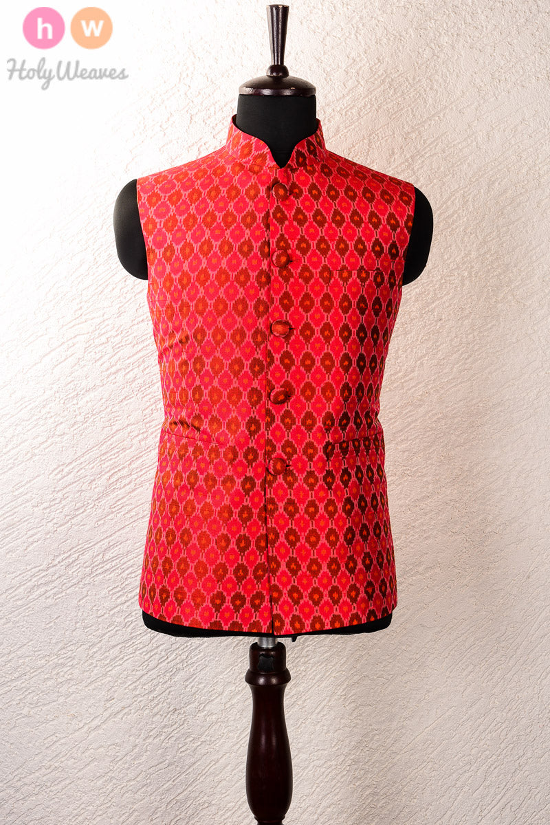 Red Raw Silk Pochampally Mens Modi Jacket - HolyWeaves