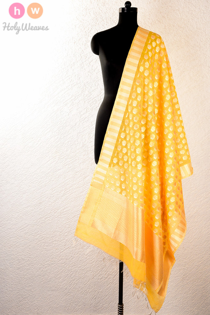Yellow Handwoven Cotton Silk Cutwork Brocade Dupatta