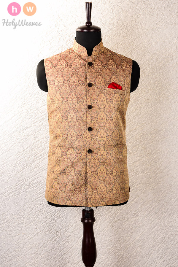 Beige Art Silk Brocade Mens Modi Jacket- HolyWeaves