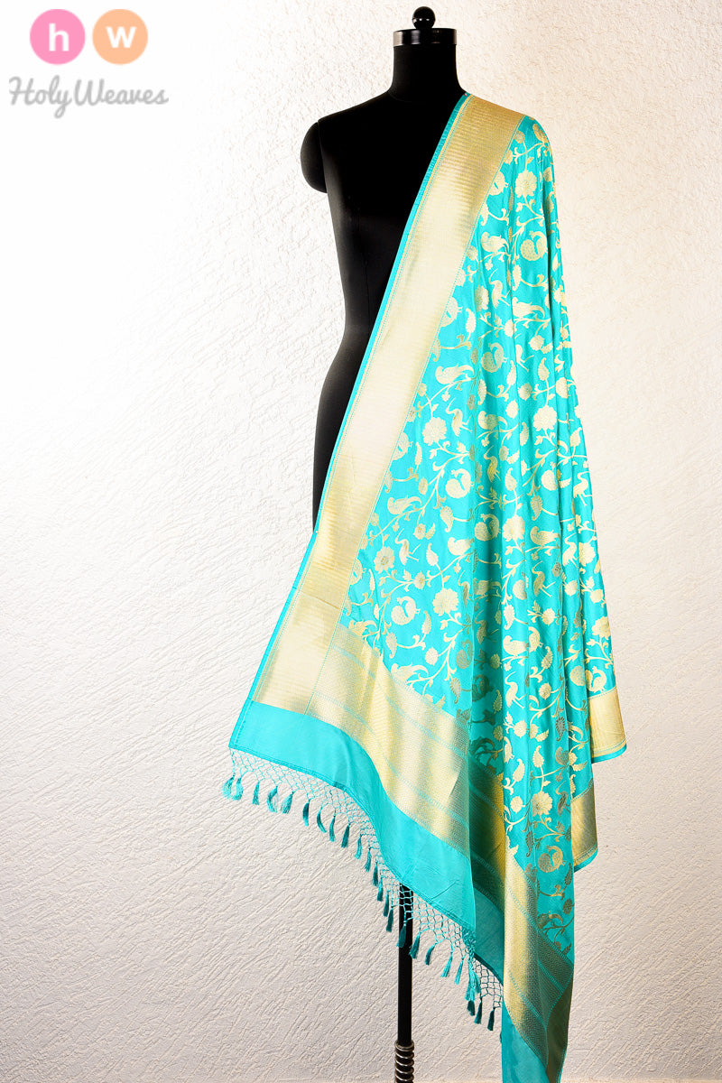 Blue Handwoven Katan Silk Cutwork Brocade Dupatta - HolyWeaves