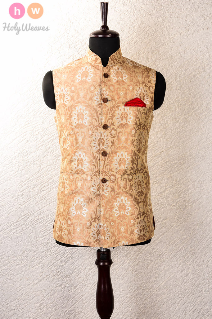 Cream Silk Muga Cutwork Brocade Mens Modi Jacket