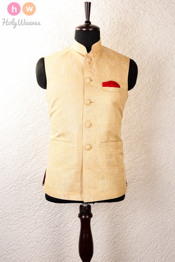 Cream Silk Brocade Mens Modi Jacket- HolyWeaves