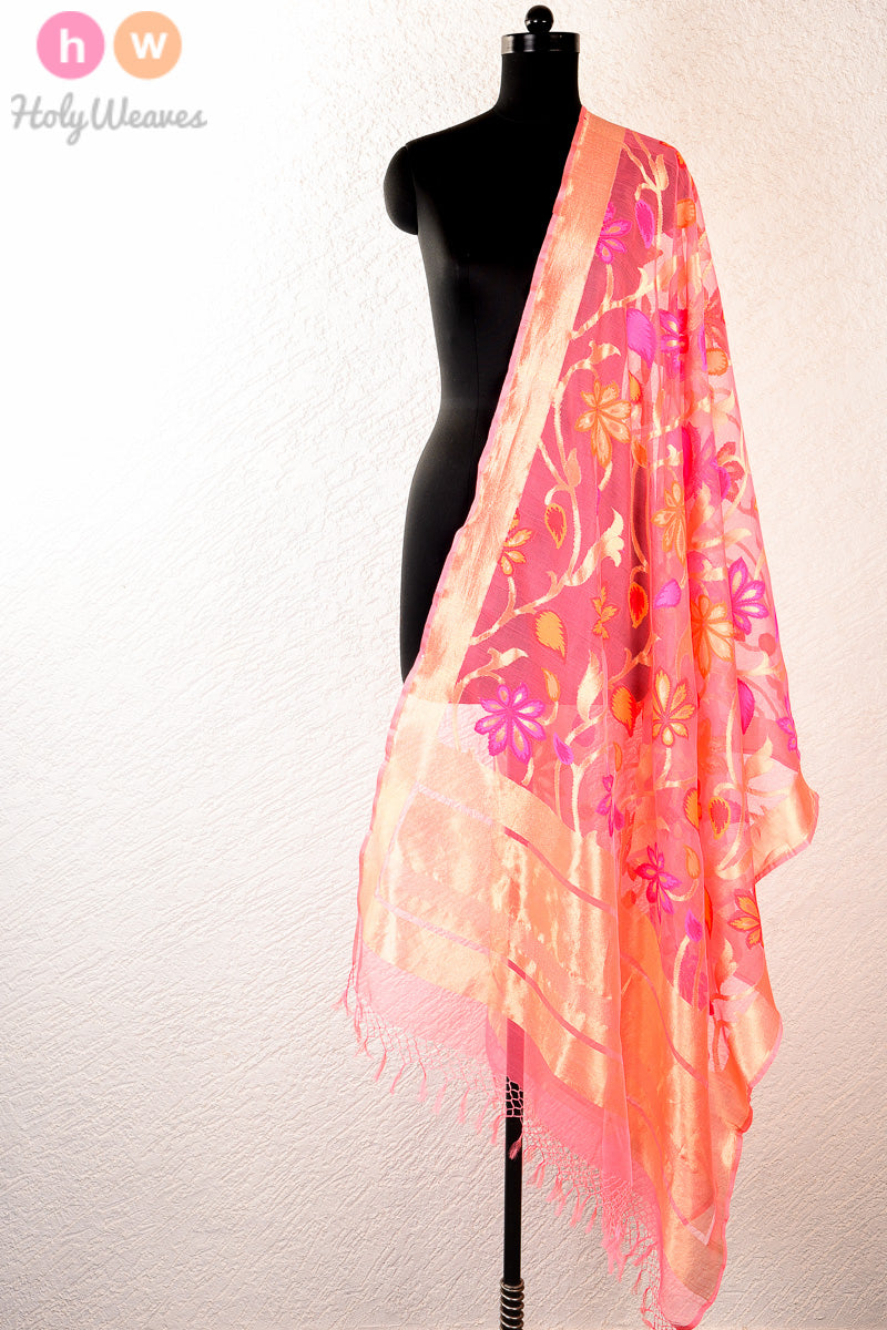 Peach Handwoven Handloom Net Cutwork Brocade Dupatta - HolyWeaves