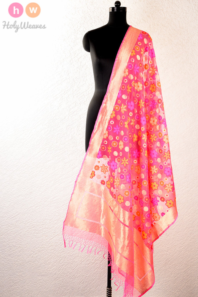 Peach Handwoven Handloom Net Cutwork Brocade Dupatta