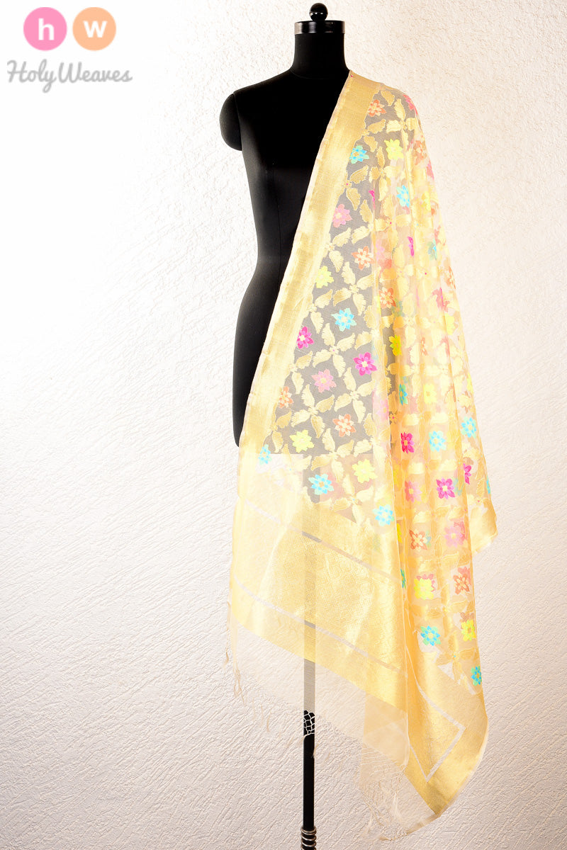 Cream Handwoven Handloom Net Cutwork Brocade Dupatta - HolyWeaves