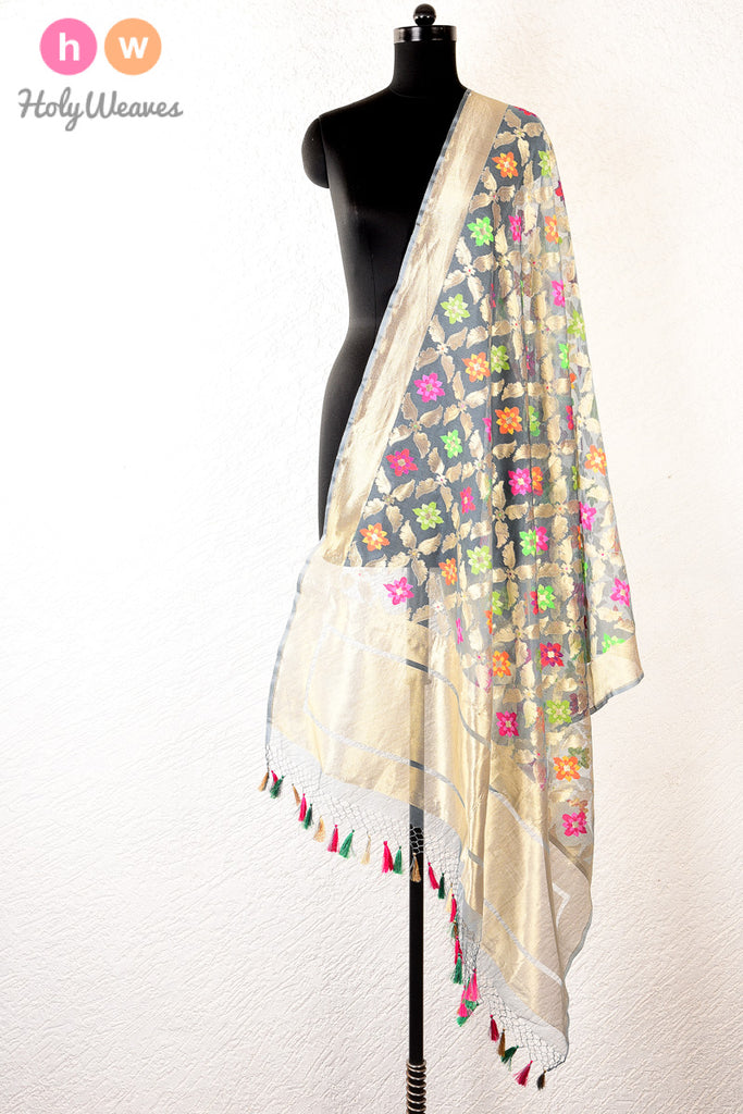 Grey Banarasi Cutwork Brocade Handwoven Handloom Net Dupatta - HolyWeaves