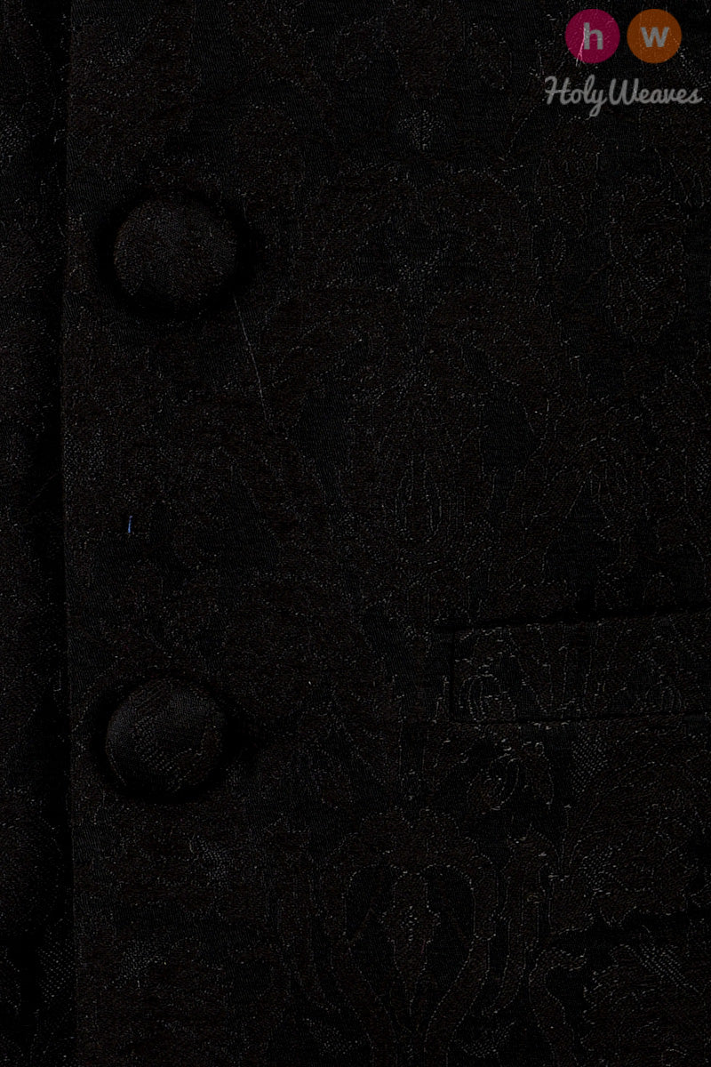 Black Art Silk Brocade Mens Modi Jacket - HolyWeaves
