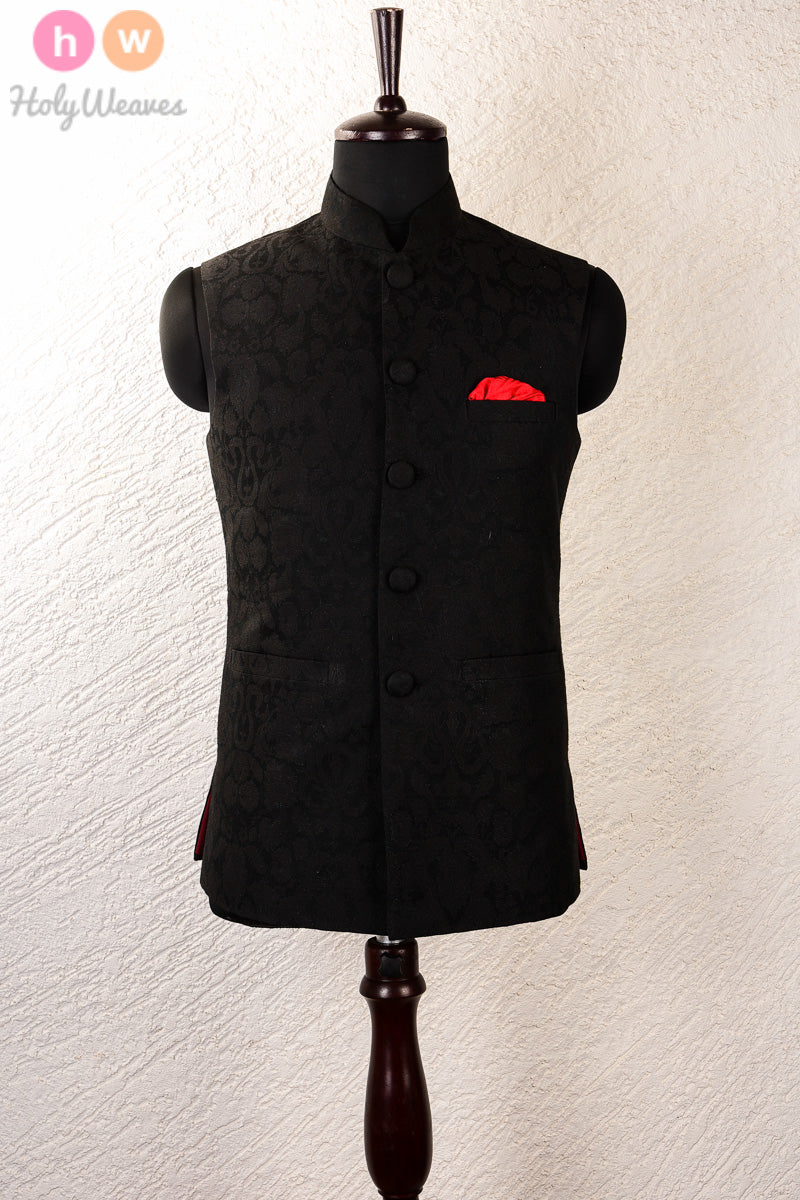 Black Art Silk Brocade Mens Modi Jacket- HolyWeaves