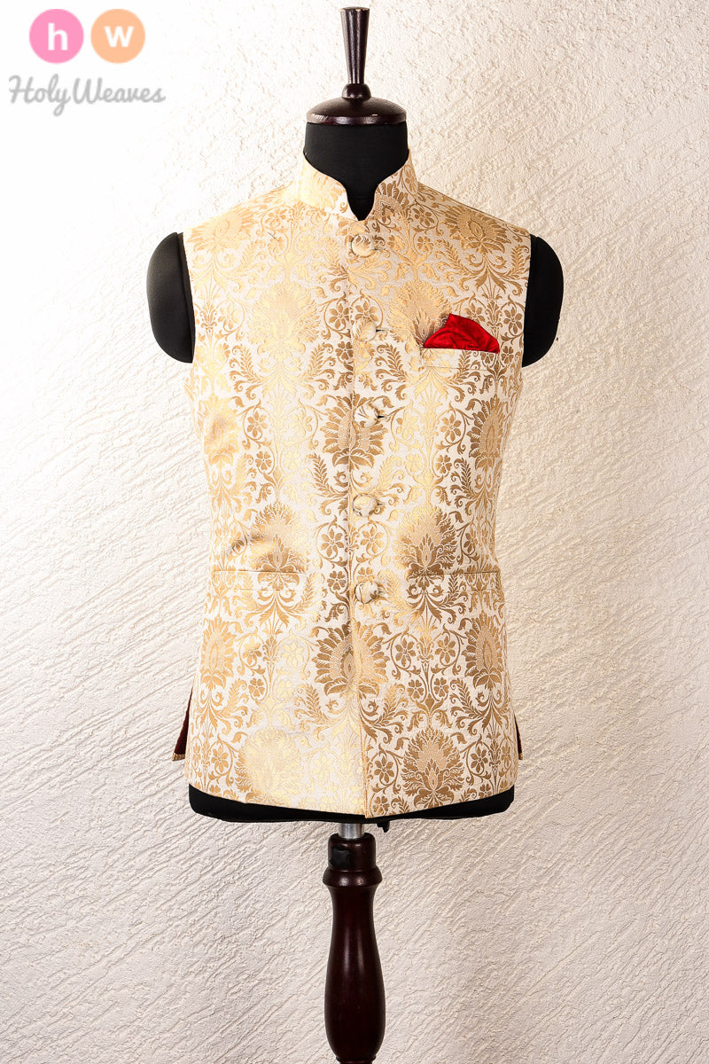 Cream Art Silk Brocade Mens Modi Jacket- HolyWeaves